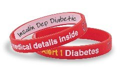 """Mediband -Silicone Medical ID Write on """"Diabetes"""" Band- Red"""