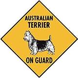 Warning! Australian Terrier On Guard Aluminum Dog Sign, 12 x 12