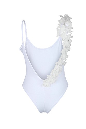 Cuello en V profundo de las mujeres traje de baño Bikini playa de flor White