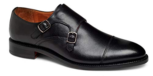 Anthony Veer Mens Roosevelt II Oxford Double Monk Strap Leather Shoe in Goodyear Welted Construction (10 D, Black) ()