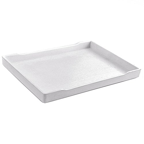 - Ozzptuu Pet Reptile Rectangle Water Food Bowl Plastic Feeding Tray Dish for Tortoise Lizards Horned Frogs (Large, White)