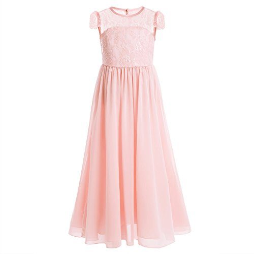 Women Lace Waisted Full Bridesmaid Party Dress Pink - 4