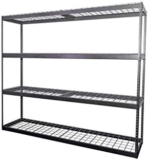 MonsterRax 2 x8 x7 Garage Shelving – Hammertone Bolted Shelving Rack – 500 Pounds Per Shelf High Grade Steel