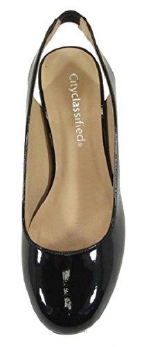 City Classified Womens Slingback Round Toe Block Heel Sandal Pump Black Patent 6Wh9V