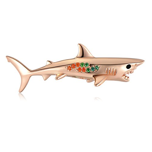 SEAPET Pelagic White Shark Pendant Necklace Handmade Ocean Jewelry, 3D Hollow 18K Rose Gold Plated (Red Inlay Rose Ladies)