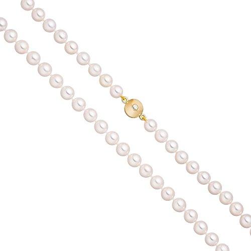 Chaîne avec Fermoir 7,5mm Perles Akoya-Oxyde de zirconium-925Argent Plaqué Or 45cm