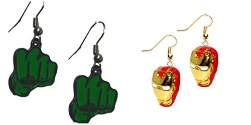 [Hulk Green Fist and 3D Ironman Mask Dangle Earrings w/Gift Box] (Iron Fist Costumes For Kids)