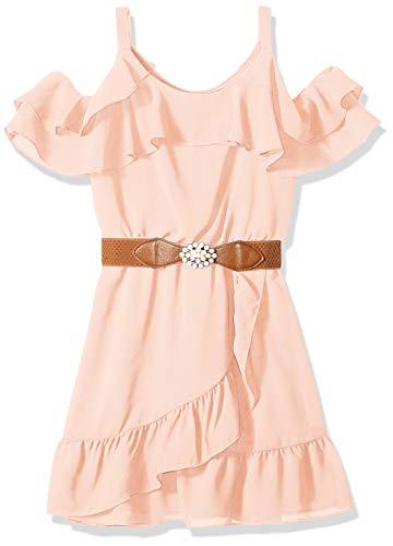 Tween Dresses Size 14 (Amy Byer Girls' Big Cold-Shoulder Ruffle Front Dress, Garden Rose,)