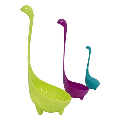 Houseables Loch Ness Ladle Dinosaur Spoon Set Cute Kitchen Tool, 4.5 Wide x 11.5 Tall, No BPA , Nessie Tea Infusers, Soup Ladle, Pasta Server, Accessories, Gadget, For Kids, Kindergarten, Parents (Ladle Green)