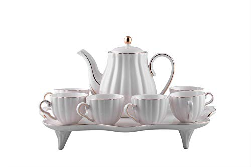 Gold Rim Porcelain - Luxury White Porcelain Gold Rim Coffee/Tea set of 8 Pcs with Pot and Serving Tray