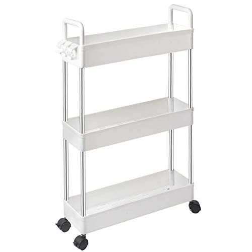 SOLEJAZZ Storage Cart 3-Tier Slim Mobile Shelving Unit Rolling Bathroom Carts with Handle for Kitchen Bathroom Laundry…