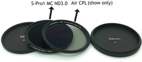 Free Aluminium Filter Screw-in caps Professional 52mm Slim S-PRO1 MC Neutral Density ND 3.0 Filter 10 Stops CameraPlus