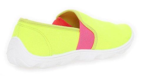 Damen Slipper Sneaker Schuhe Sommerschuhe in 6 Farben Gr. 36 bis 41 Lemon Pink