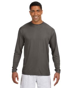 A4 Men's Cooling Performance Crew Long Sleeve T-Shirt, Graphite, - Under 4 Men