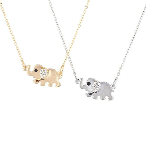 Lux Accessories Silver Tone Gold Tone BFF Best Friends Elephant Necklace Set 2pc