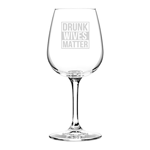 Drunk Wives Matter Funny Wine Glass- Gifts for Women- Premium Birthday Gift for Her, Mom, Best Friend- Unique Present Idea from Husband to Wife by DU VINO (Image #2)