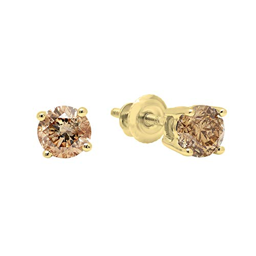 Dazzlingrock Collection 0.33 Carat (ctw) 10K Round Champagne Diamond Ladies Stud Earrings 1/3 CT, Yellow Gold