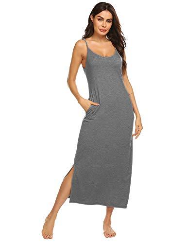 Women's Cotton Nightgown Spaghetti Strap V-Neck Full Length Slit Dress (Gray,L)