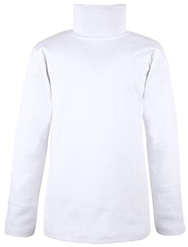 Girls Turtleneck (Lovetti Girls' Basic Long Sleeve Turtleneck 100% Cotton T-Shirt 9 White)