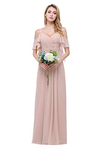 CLOTHKNOW Spaghetti Bridesmaid Dresses Long Blush with Shoulder Ruffles Pleats