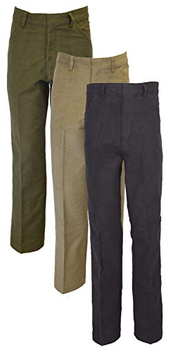 Walker & Hawkes – Mens Classic Moleskin 100% Cotton Trousers – Olive Beige Navy