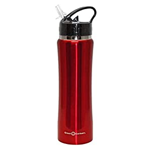 Green Canteen DWVB-125-R Double Wall Stainless Steel Vacuum Bottle, 25 oz, Red