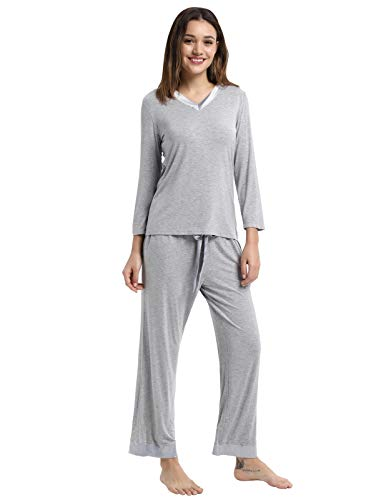 Pj for Women Set Modal Nightwear Stretchy T-Shirt Tops with Long Pants Grey ()