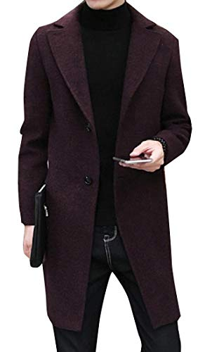 (SportsX Men Textured Wool and Warm Slim Casual Windproof Pea Coat Wine Red XL)