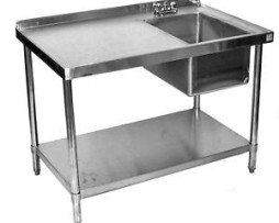 30x60 All Stainless Steel Work Table with Prep Sink on Right