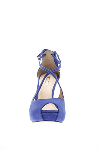 Guess Sandalia Mujer Huete Huete Sandal Recortar Suede tacón 12 PL 3 Blue Azul