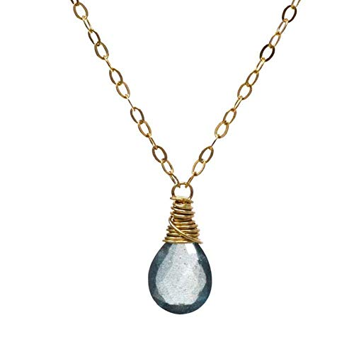 - Moss aquamarine necklace solitaire faceted 14kt gold-filled 16 inch length v3 March birthstone