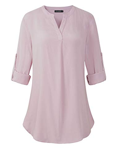 Split Neck Top - Veranee Womens 3/4 Cuffed Sleeve Chiffon Floral Printed Round Neck Casual Blouse Tops Medium Pink