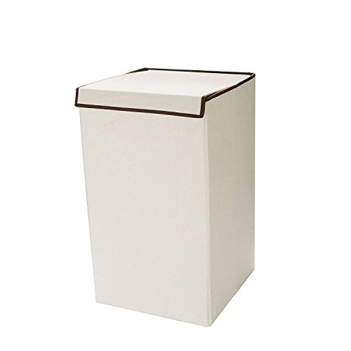 7255 Villacera Deluxe Laundry Hamper with Lid Folds for Easy Storage, Natural w/ Brown Trim