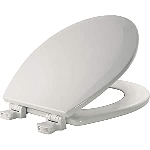 Bemis 500EC 000 Wood Round Toilet Seat With Easy Clean & Change Hinge, White