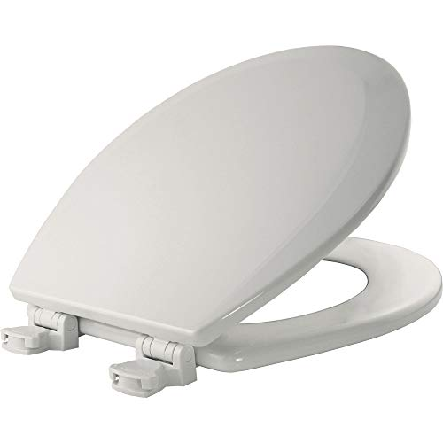 BEMIS 500EC 000 Toilet Seat with Easy Clean & Change Hinges, ROUND, Durable Enameled Wood, White - Oak Round Front Toilet Seat