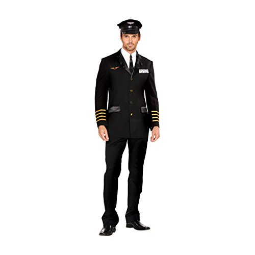 Dreamgirl Men's Mile High Pilot Hugh Jordan Costume, Black, Medium (Pilot Halloween Costume)