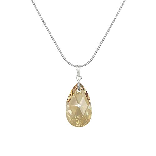(*SALE* Fast-and-Free-Shipping - Swarovski Crystal Teardrop Golden Shadow Sterling Silver Snake Chain Necklace)