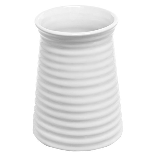 - 5.7-Inch Modern Ribbed Design Small White Ceramic Decorative Tabletop Centerpiece Vase/Flower Pot
