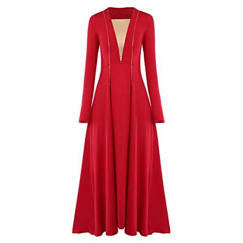 IMEKIS Metallic Liturgical Praise Dance Dress for Women Long Sleeve Lyrical Dancewear Circle Full Length Robe Worship Costume Epiphany Shrove Tuesday Lent Dresses Red + Gold 3XL