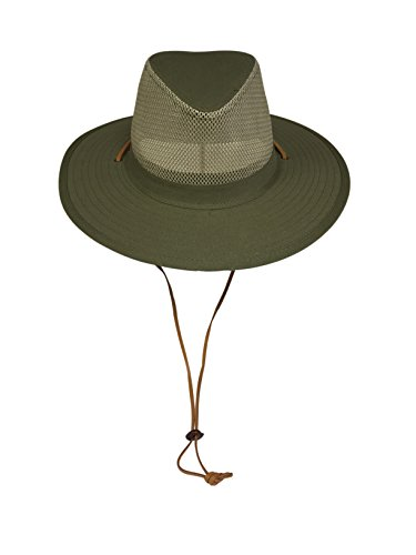 - Unisex Safari Sun Bucket Hat with A Montana Crease and Breathable Mesh Crown - Dawstring - 100% Quik-Dry Nylon - 50 UPF-UV Sun Protection - Small/Medium (Olive)