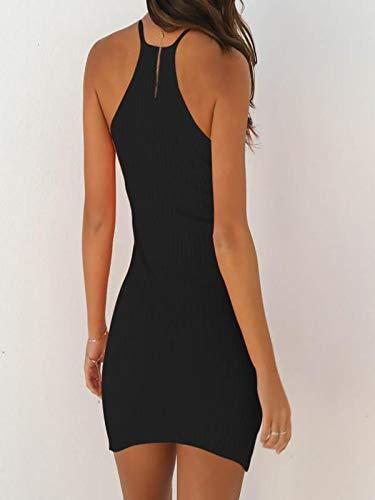 Ronamick vestidos mujer casual 2019 Mini vestido de fiesta de fiesta sin mangas con eslinga para mujer Vestidos cortos verano(Negro,M
