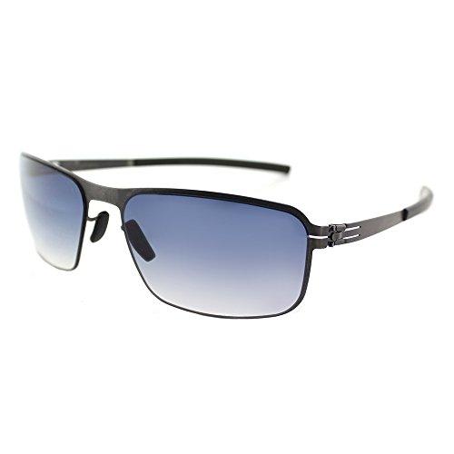 ic! berlin Black Body Graphite Metal Rectangle Sunglasses Night Clear Gradient ()
