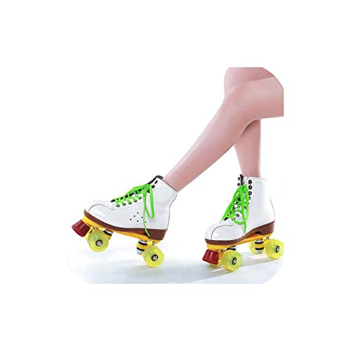 Juvenile shoulder Genuine Leather Roller Skates Double Line Patines Women Models Adult Black with Racing 4 Pu Wheels Two Line Roller Skating Shoes,White,36