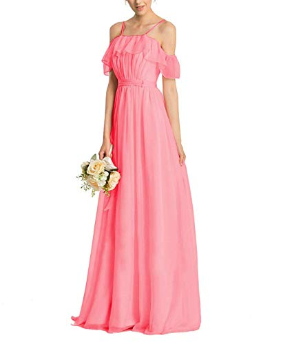a4a2db26eb2 Bridesmaid Dress Spaghetti Strap Off Shoulder Chiffon Long Formal Women  Prom Party Gown Coral Size 16