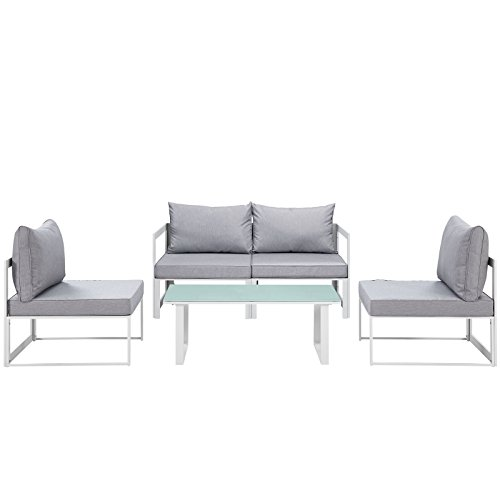 Cheap Modway Fortuna 5-Piece Aluminum Outdoor Patio Sectional Sofa Set in White Gray