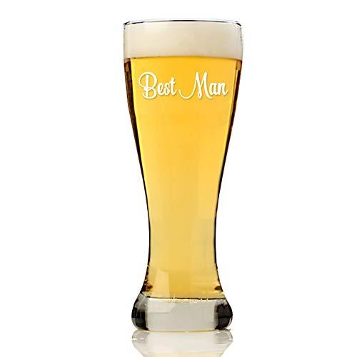 Classic Best Man Groomsman 16 ounce Pilsner Beer Glass, Groomsmen Beer Glass Gift, Best Man Gift, Bridal Party Gift, Groom Beer Glass.- SET OF 4 GLASSES