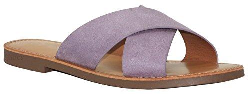 Mve Shoes Strappy Slide Sandals Leather Faux l Criss Summer Cross On Sandal Slip Flats Women's Lilac Isu rpwqATr