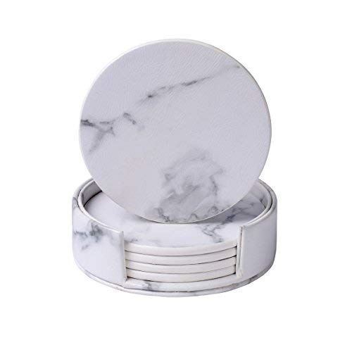 WAYIFON 6 PCS Premium PU Leather Coasters for Drinks with Holder, Heat Resistant Drink Coaster - Protect Furniture from Stains Water Rings and Damage, Mothers' Day Housewarming Gift - Marble White