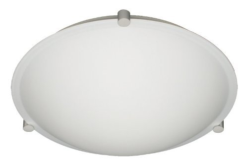 - Besa Lighting 968207-SN 1X100W A19 Trio 12 Ceiling Flush Mount with White Glass, Satin Nickel Finish by Besa