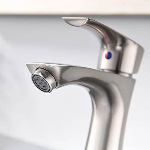 KINGO HOME Commercial Stainless Steel Lavatory Single Handle Single Hole Brushed Nickel Bathroom Faucets, Hot and Cold Water Vanity Sink Faucet by KINGO HOME (Image #5)